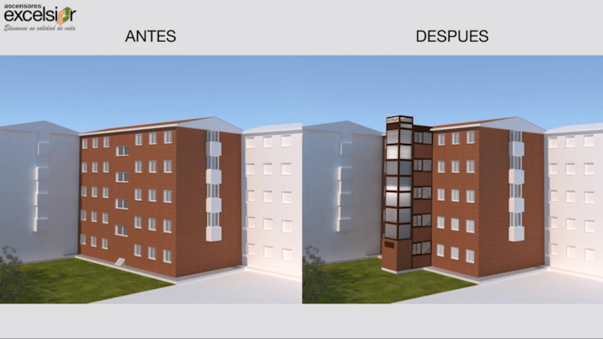 Nuevo vídeo 3D: Instalación de ascensor con parada en planta por fachada trasera